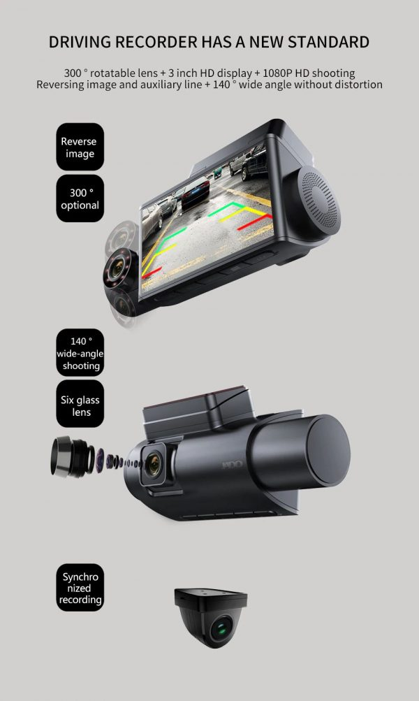 3 Camera Car Dash Camera - 3