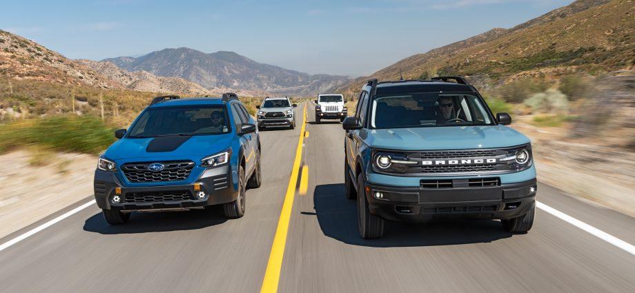 Ford-Bronco-Sport-vs.-Jeep-Wrangler-Unlimited-Sport-vs.-Subaru-Outback-Wilderness-vs.-Toyota-RAV4-TRD-Off-Road